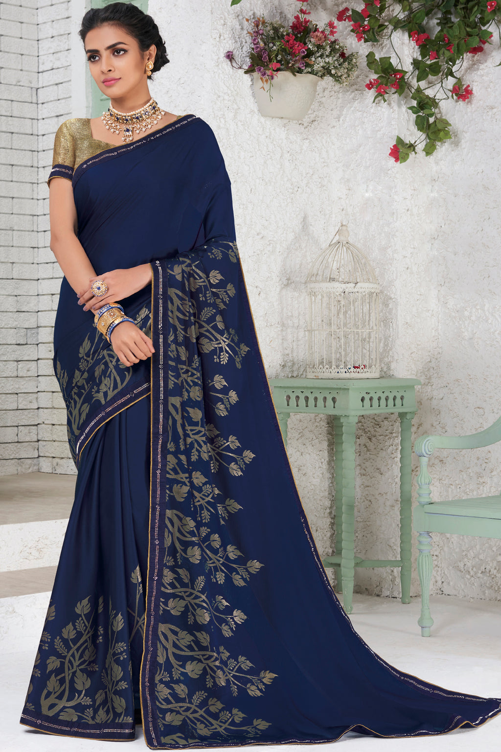 Blue Color Chiffon Party Wear Sarees NYF-9692