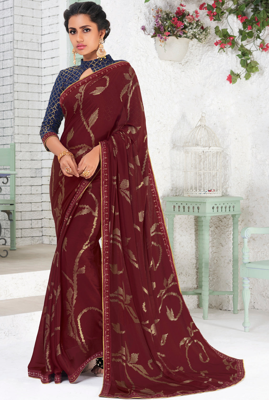 Maroon Color Chiffon Party Wear Sarees NYF-9693