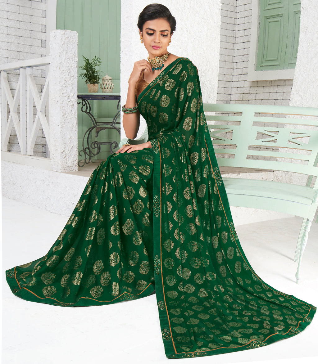 Green Color Chiffon Party Wear Sarees NYF-9694
