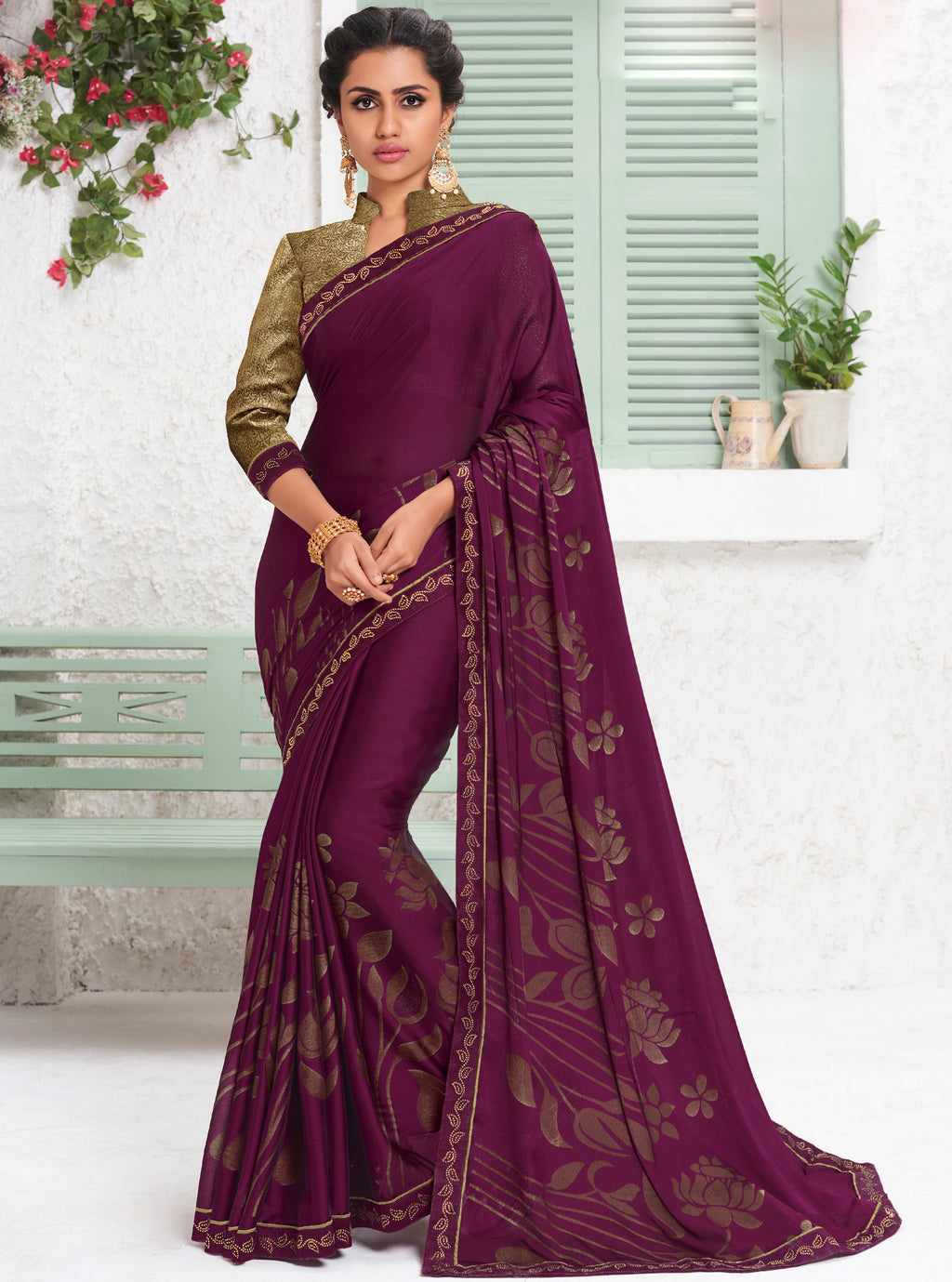 Purple Color Chiffon Party Wear Sarees NYF-9695