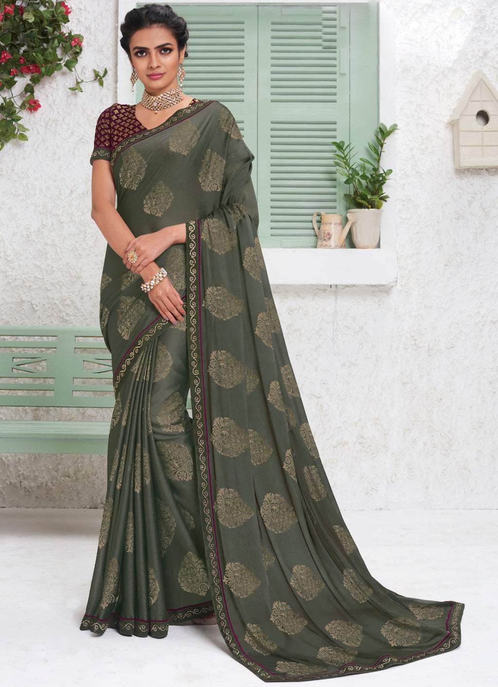Grey Color Chiffon Party Wear Sarees NYF-9696