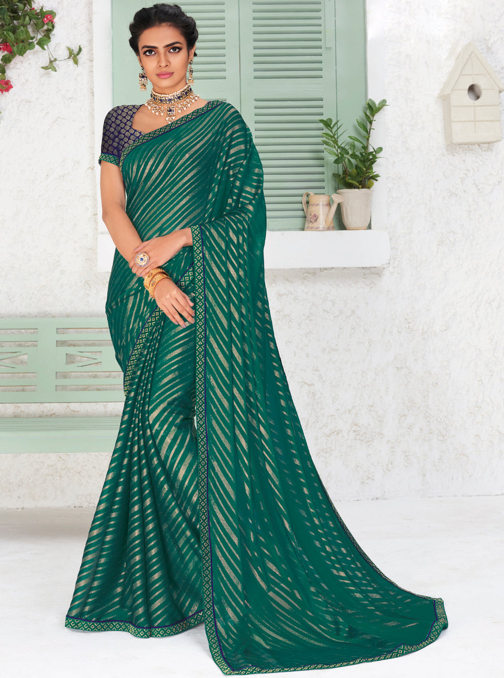 Green Color Chiffon Party Wear Sarees NYF-9697
