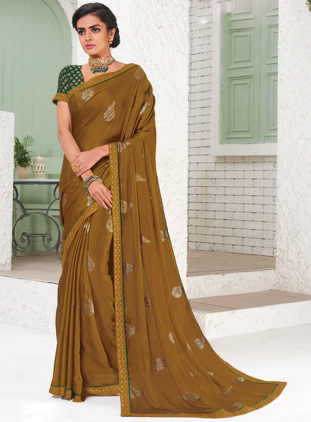 Mustard Yellow Color Chiffon Party Wear Sarees NYF-9698