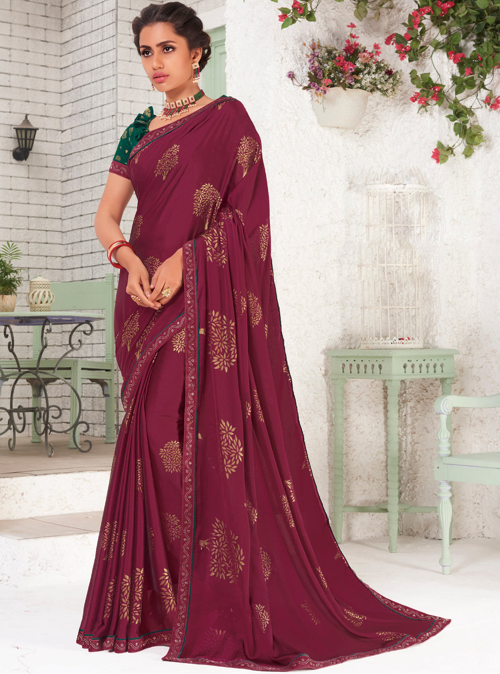 Magenta Color Chiffon Party Wear Sarees NYF-9699