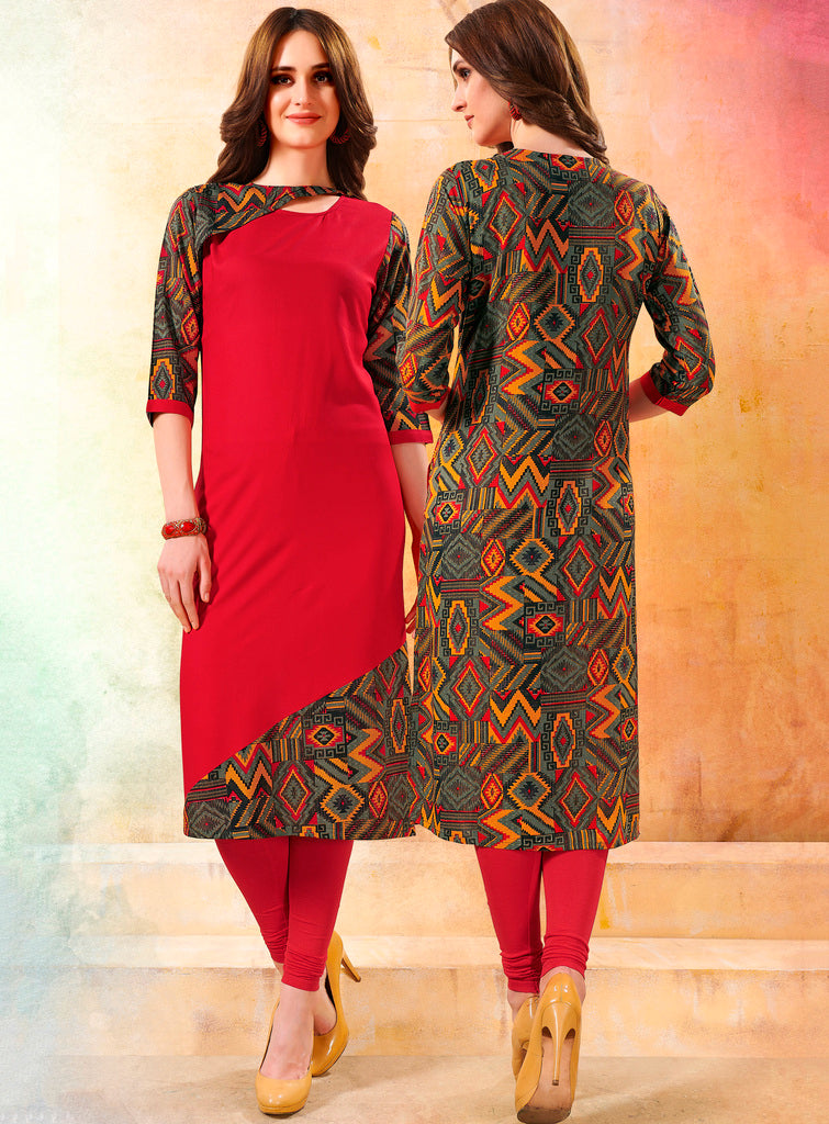 Red Color Rayon Readymade Designer Kurtis ( Sizes - 40,42, 44): Navrasi Collection NYF-1868 - YellowFashion.in