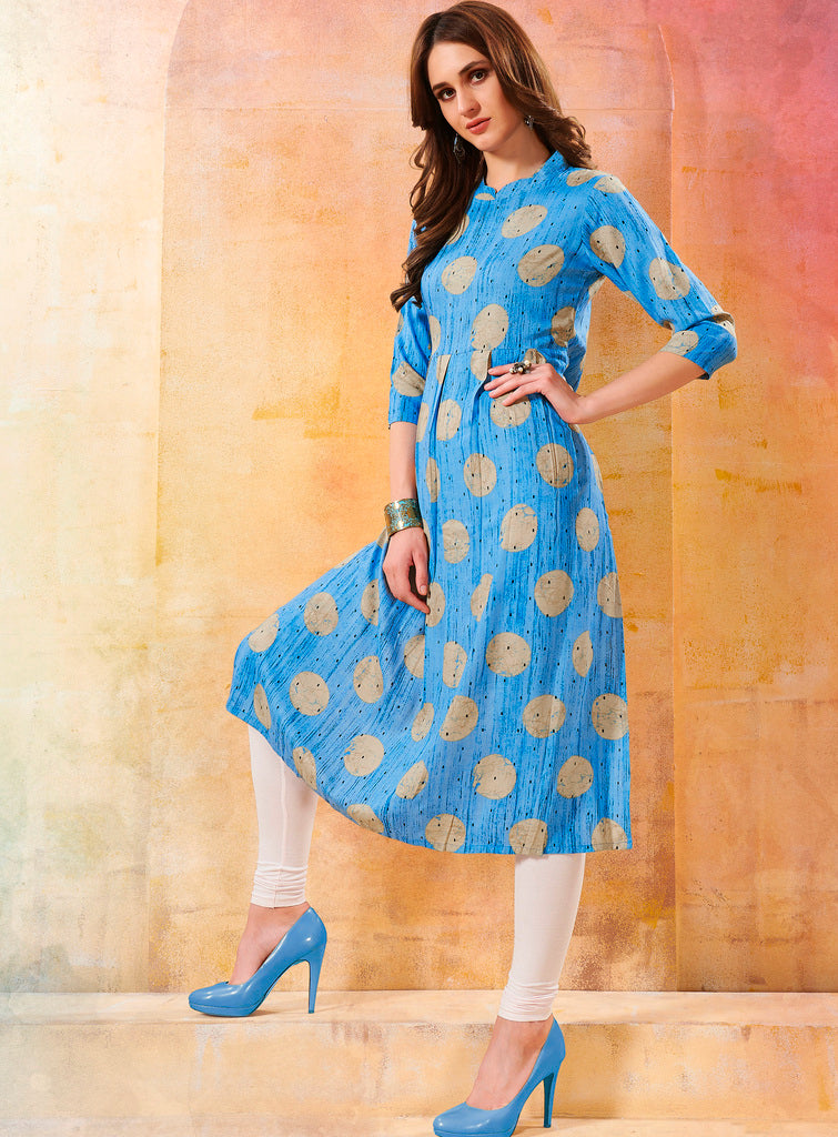 Sky Blue Color Rayon Readymade Designer Kurtis ( Sizes - 40,42, 44): Navrasi Collection NYF-1871 - YellowFashion.in
