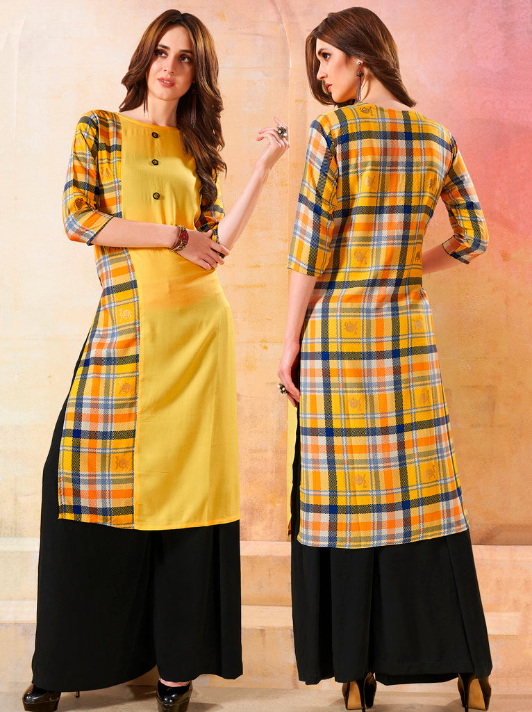 Yellow Color Rayon Readymade Designer Kurtis ( Sizes - 40,42, 44): Navrasi Collection NYF-1874 - YellowFashion.in