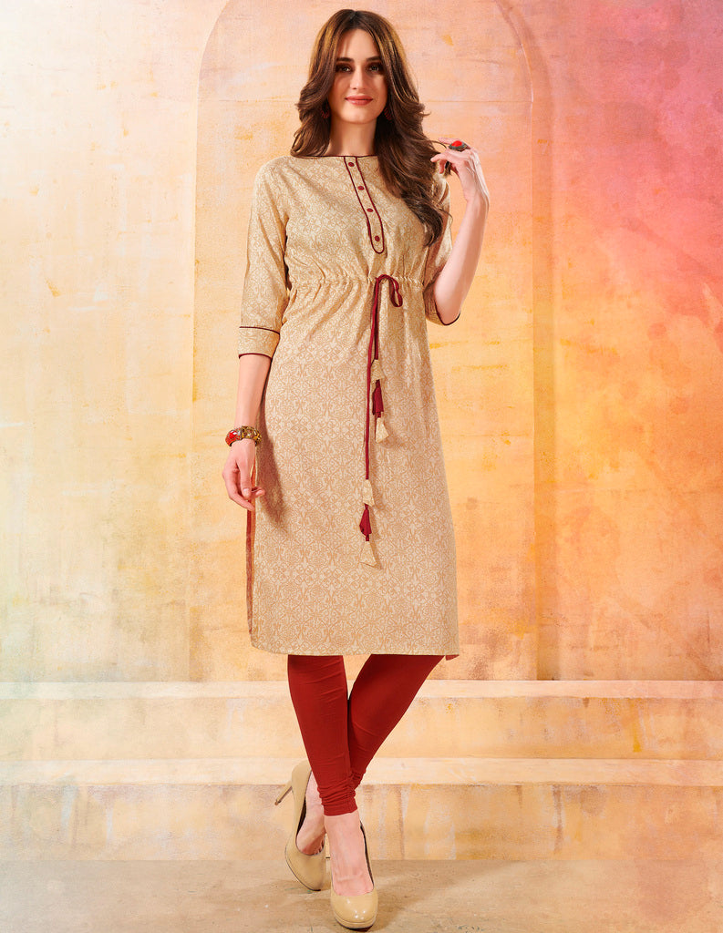 Cream Color Rayon Readymade Designer Kurtis ( Sizes - 40,42, 44): Navrasi Collection NYF-1877 - YellowFashion.in