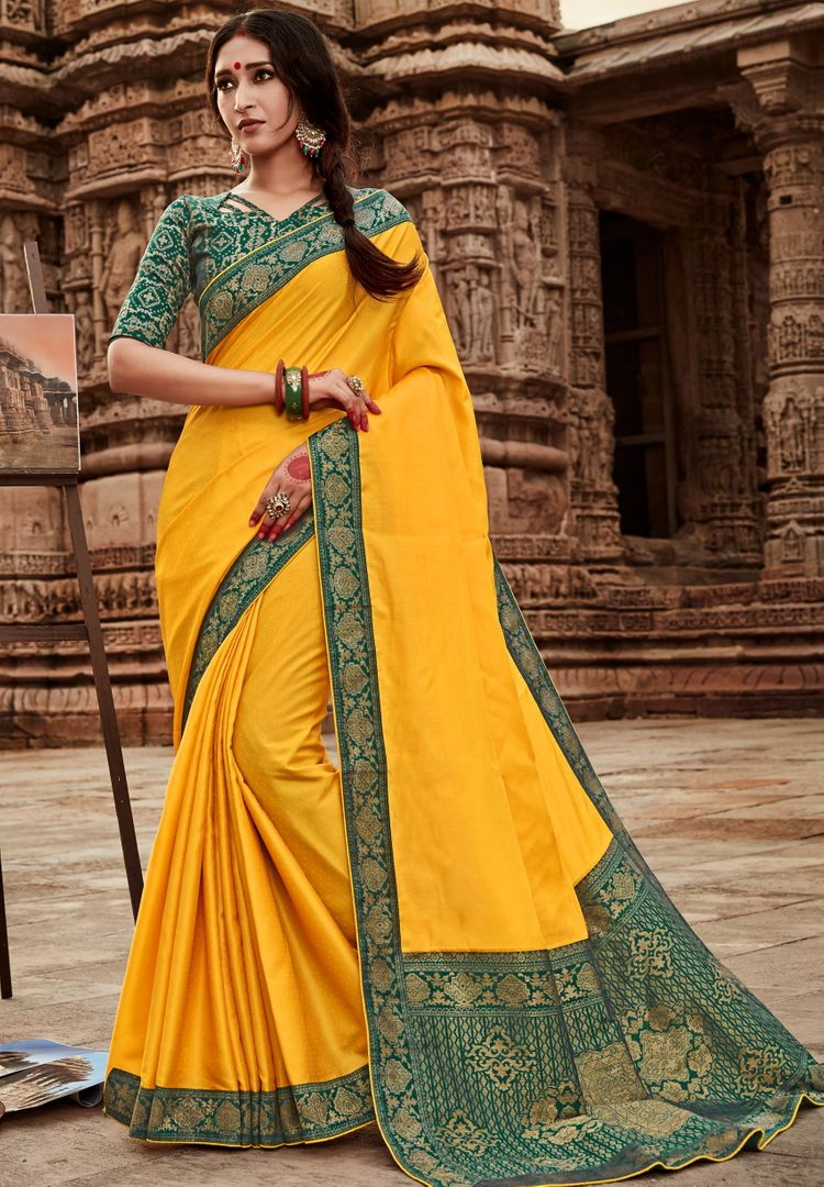 Yellow Color Silk Lovely Party Wear Sarees NYF-4358 - YellowFashion.in