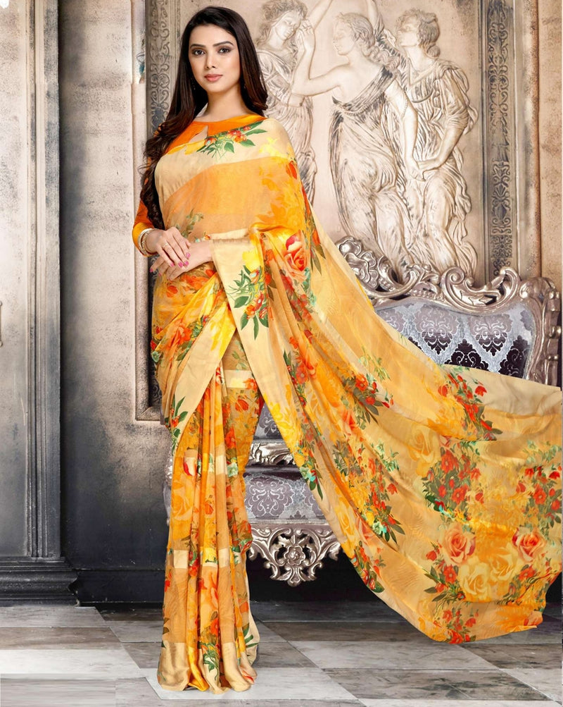 Orange Color Chiffon Designer Kitty Party Sarees : Minri Collection  NYF-1211 - YellowFashion.in