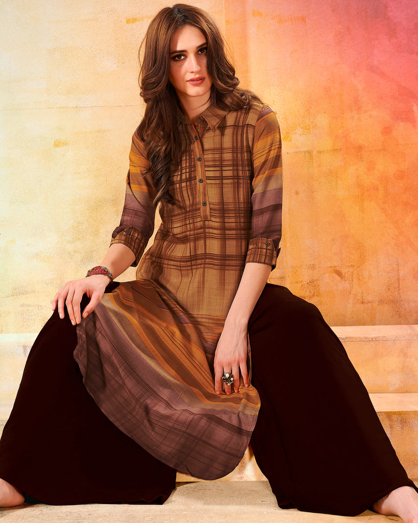 Brown Color Rayon Readymade Designer Kurtis ( Sizes - 40,42, 44): Navrasi Collection NYF-1880 - YellowFashion.in