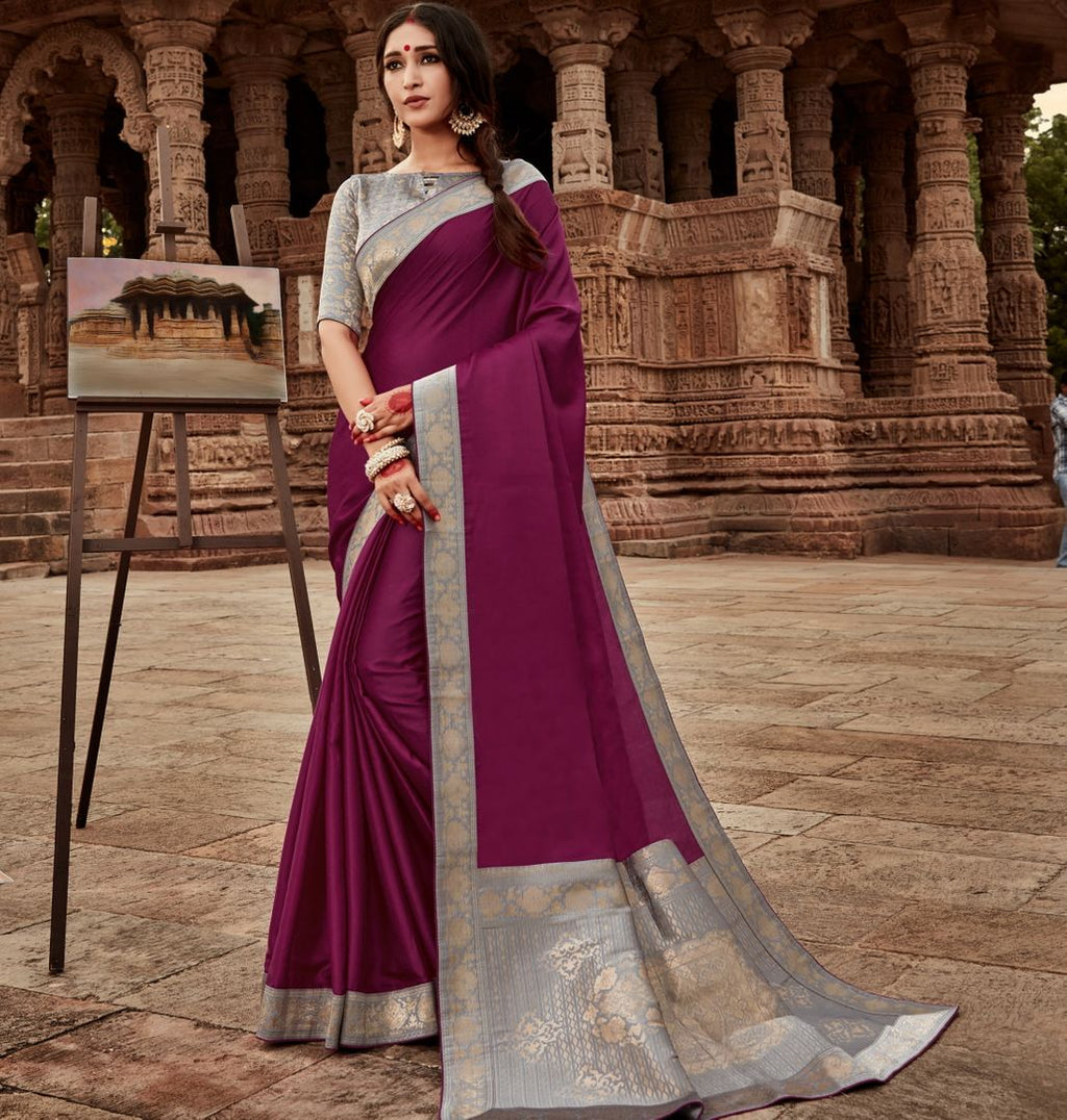 Purple Color Silk Lovely Party Wear Sarees NYF-4359 - YellowFashion.in