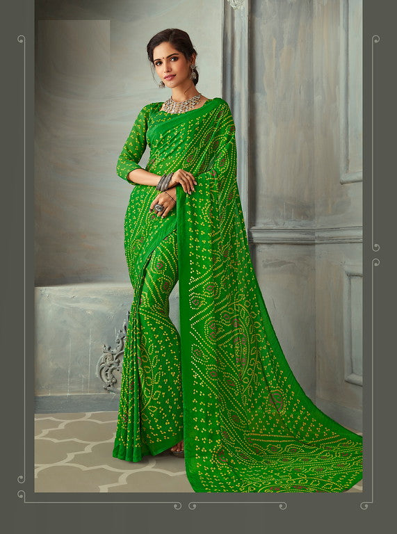 Green Color Chiffon Casual Wear saree -  Noor Collection YF#10228