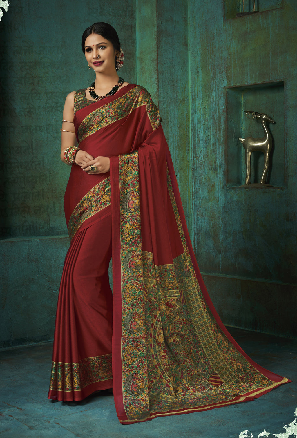 Maroon Color Crepe Printed Kitty Party Sarees NYF-8385