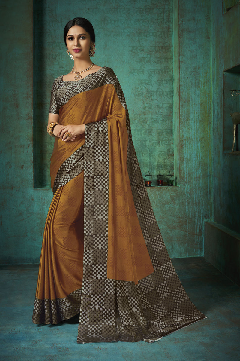 Coffee Color Crepe Printed Kitty Party Sarees NYF-8387