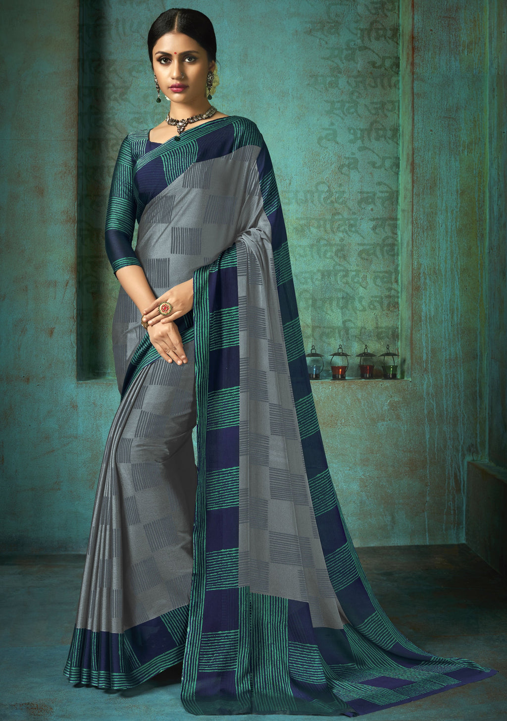 Grey Color Crepe Printed Kitty Party Sarees NYF-8388