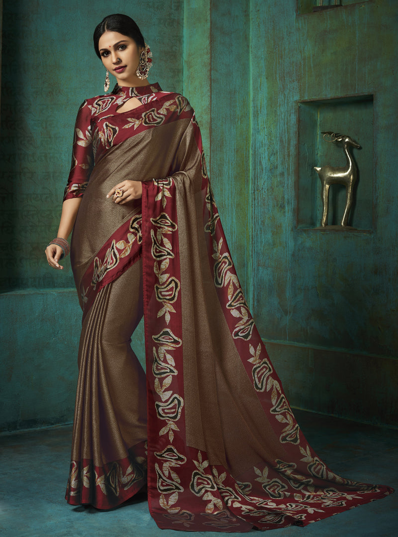 Brown Color Crepe Printed Kitty Party Sarees NYF-8393