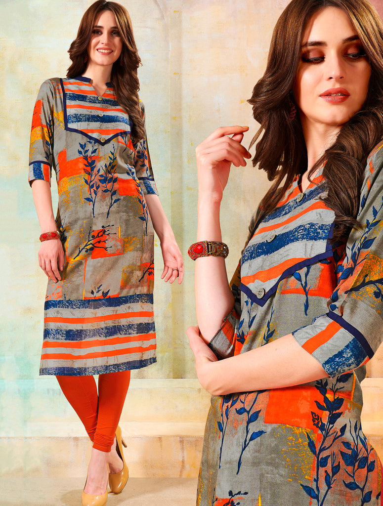 Multi Color Rayon Readymade Designer Kurtis ( Sizes - 40,42, 44): Navrasi Collection NYF-1883 - YellowFashion.in
