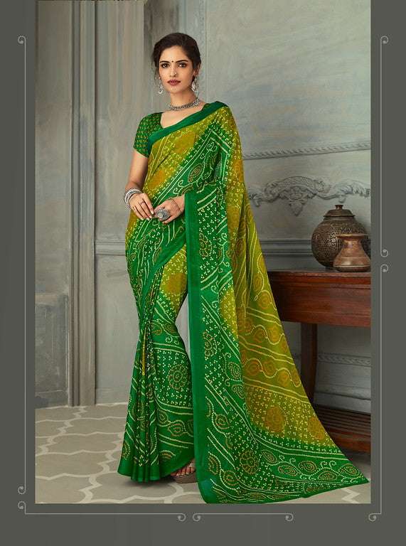 Shades of Green Color Chiffon Casual Wear saree -  Noor Collection YF#10231