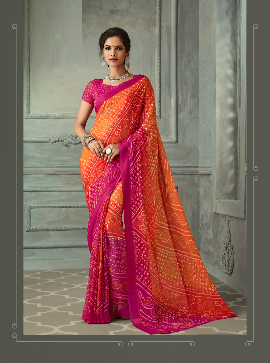 Orange and Pink Color Chiffon Casual Wear saree -  Noor Collection YF#10232