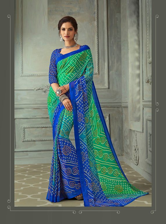 Green and Blue Color Chiffon Casual Wear saree -  Noor Collection YF#10233