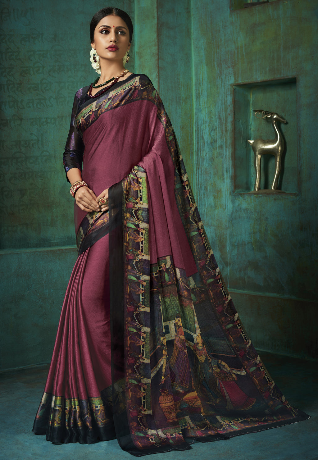 Magenta Color Crepe Printed Kitty Party Sarees NYF-8394