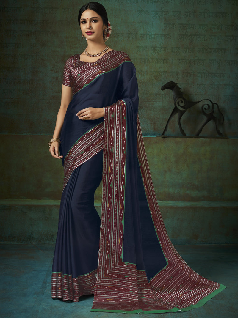 Blue Color Crepe Printed Kitty Party Sarees NYF-8395