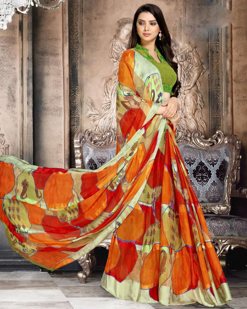Red, orange & Green Color Chiffon Designer Kitty Party Sarees : Minri Collection  NYF-1214 - YellowFashion.in