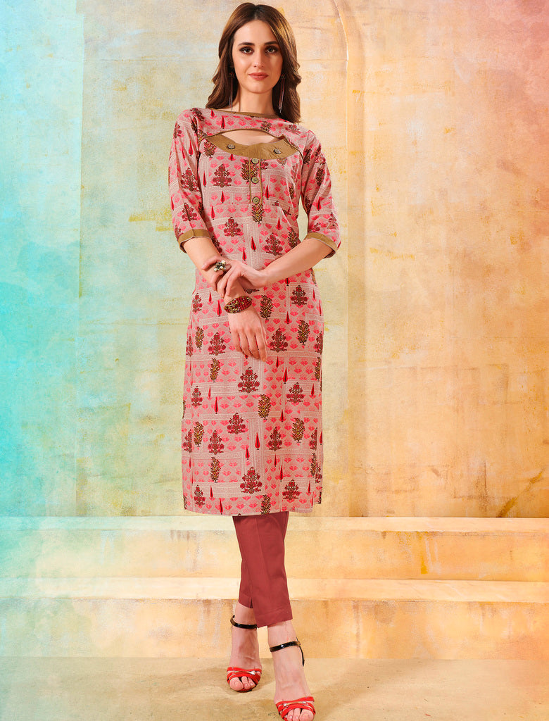 Pink Color Rayon Readymade Designer Kurtis ( Sizes - 40,42, 44): Navrasi Collection NYF-1889 - YellowFashion.in