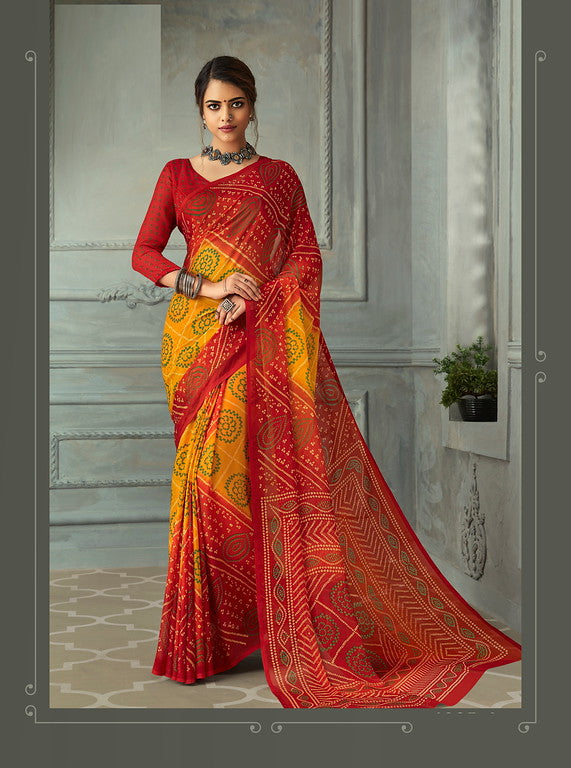 Red and Yellow Color Chiffon Casual Wear saree -  Noor Collection YF#10234