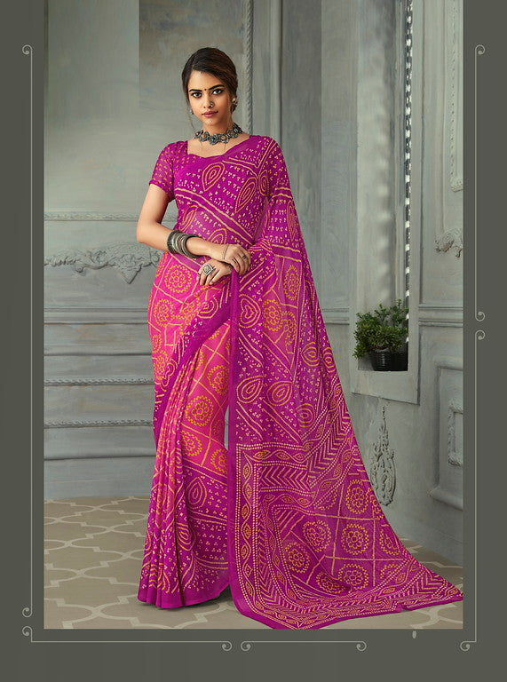 Pinkish purple Color Chiffon Casual Wear saree -  Noor Collection YF#10235
