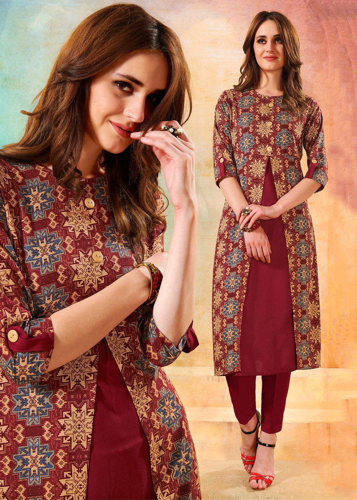 Maroon Color Rayon Readymade Designer Kurtis ( Sizes - 40,42, 44): Navrasi Collection NYF-1892 - YellowFashion.in