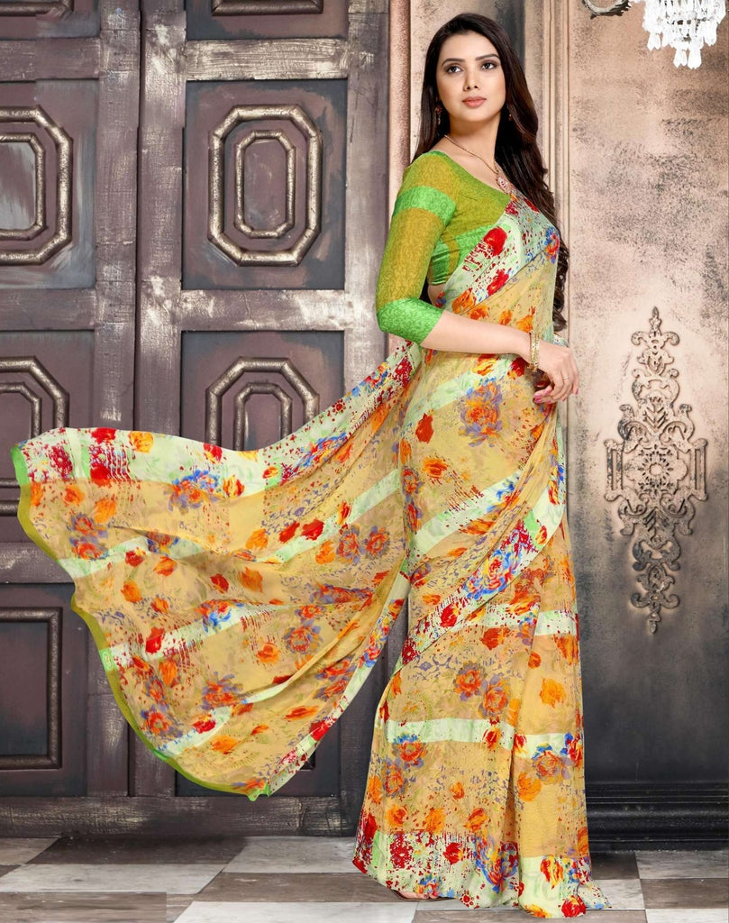 Cream Color Chiffon Designer Kitty Party Sarees : Minri Collection  NYF-1215 - YellowFashion.in