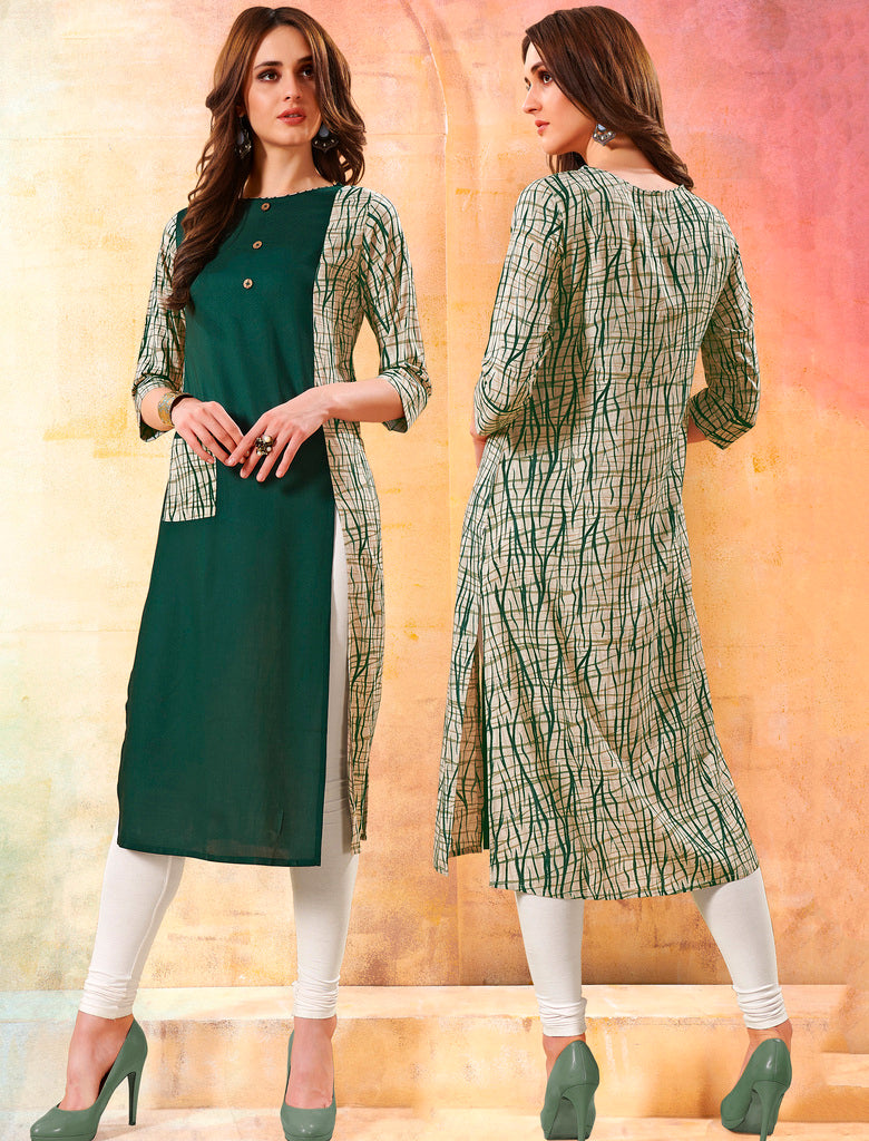 Cream & Green Color Rayon Readymade Designer Kurtis ( Sizes - 40,42, 44): Navrasi Collection NYF-1895 - YellowFashion.in