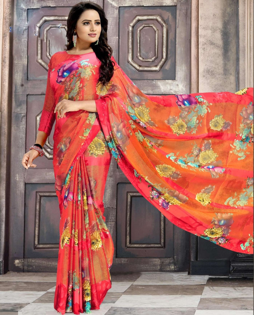 Shades Of Orange & Red Color Chiffon Designer Kitty Party Sarees : Minri Collection  NYF-1217 - YellowFashion.in
