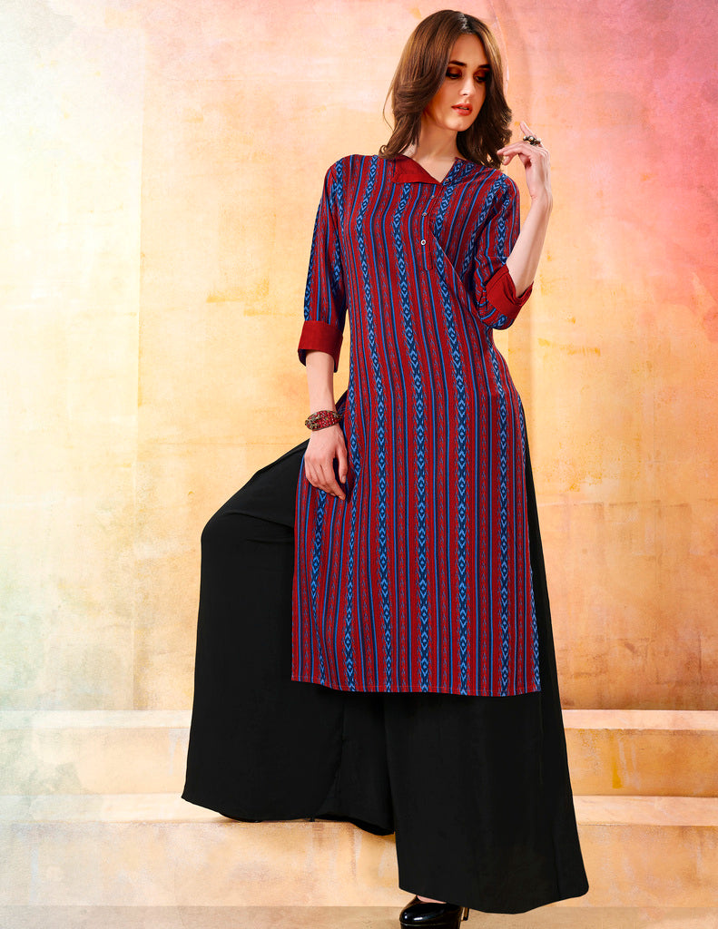 Red & Blue Color Rayon Readymade Designer Kurtis ( Sizes - 40,42, 44): Navrasi Collection NYF-1898 - YellowFashion.in