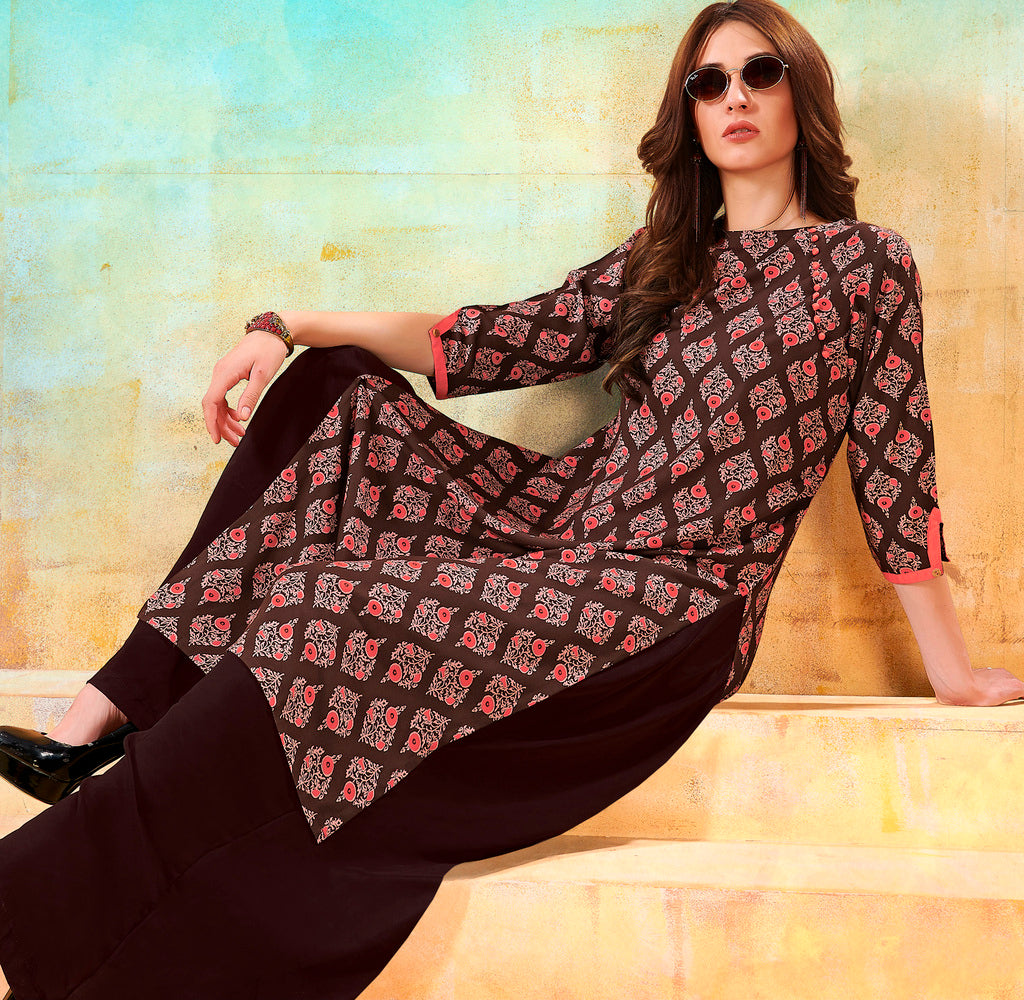 Brown Color Rayon Readymade Designer Kurtis ( Sizes - 40,42, 44): Navrasi Collection NYF-1901 - YellowFashion.in