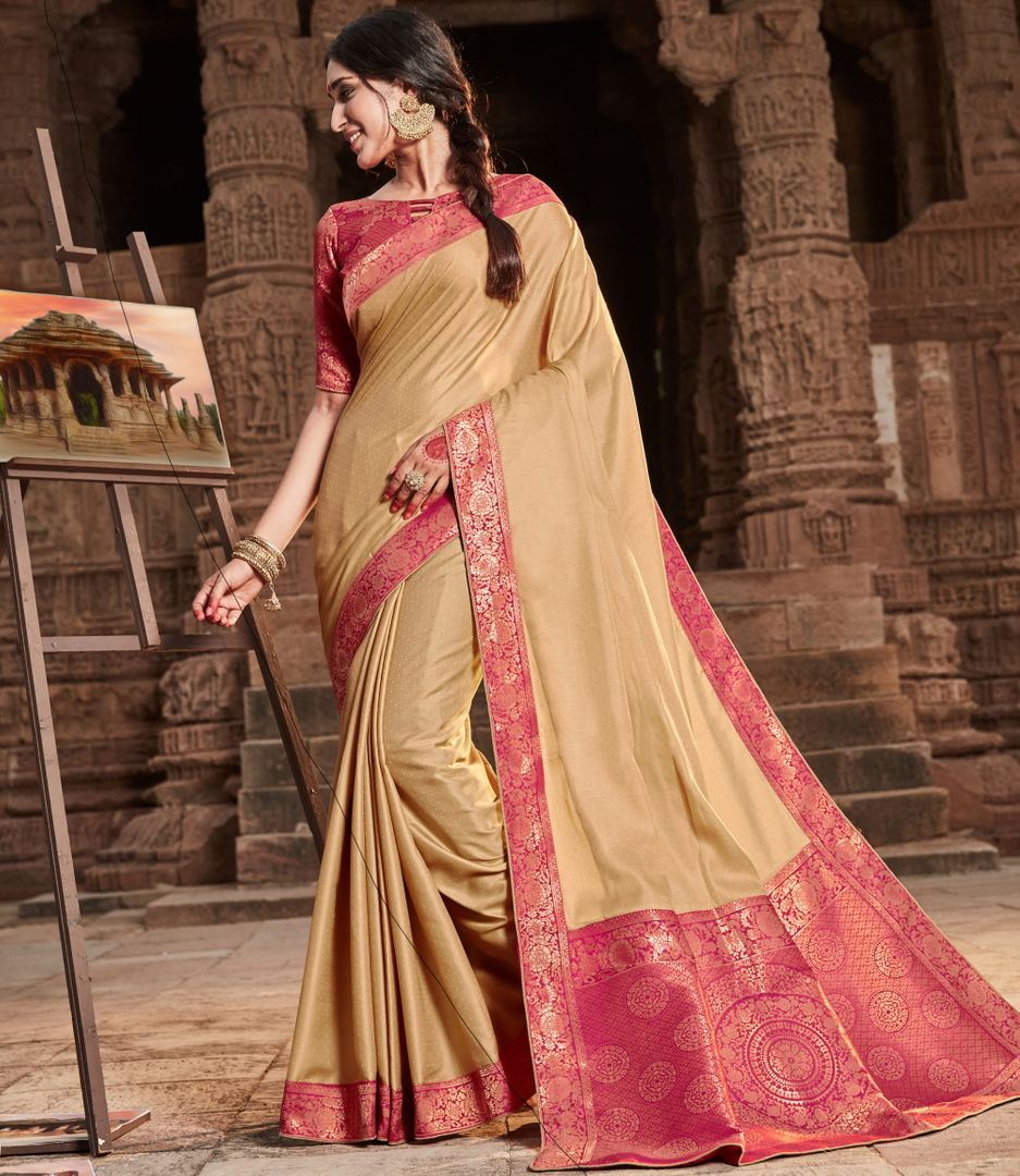 Cream Color Silk Lovely Party Wear Sarees NYF-4366 - YellowFashion.in