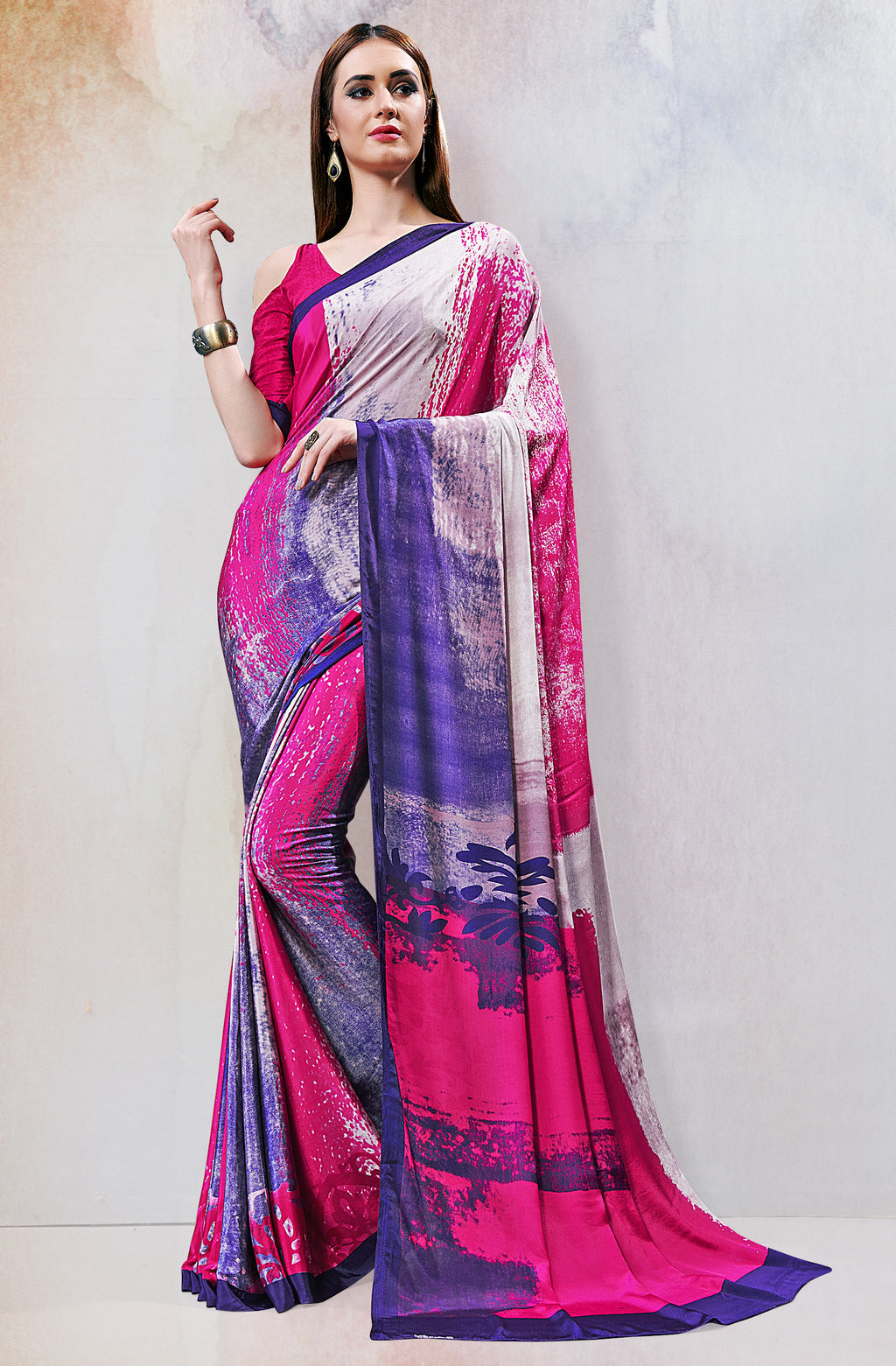 Pink & Blue Color Crepe  Digital Print Kitty Party Sarees NYF-8149