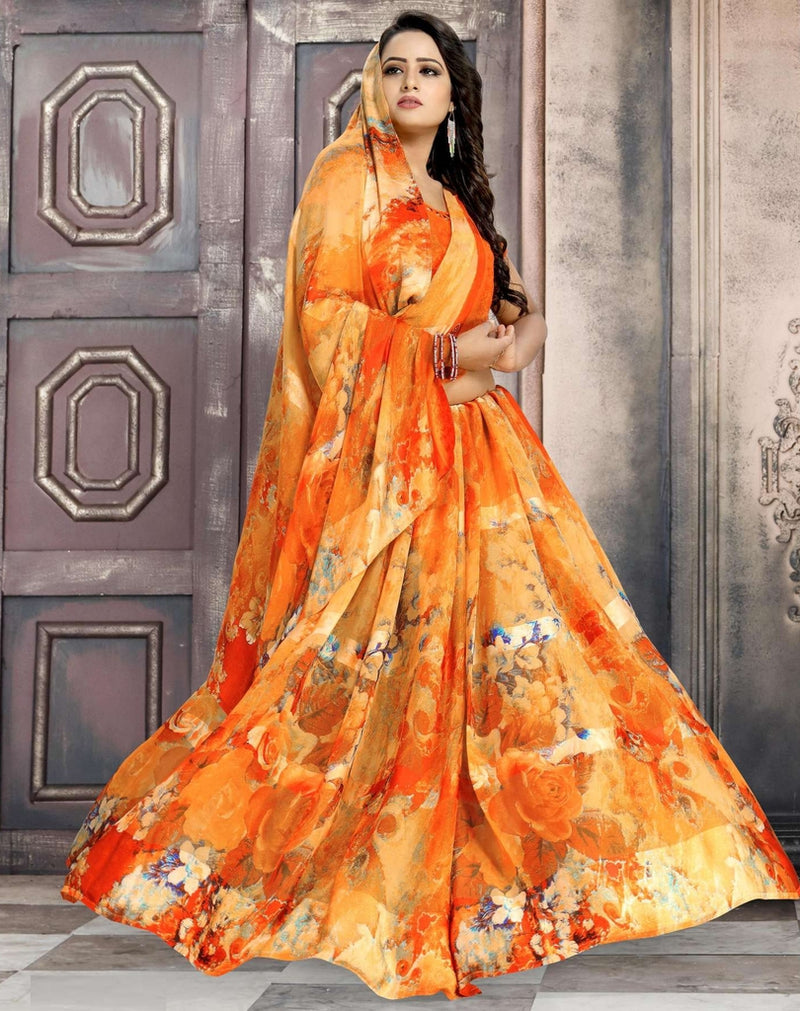 Orange Color Chiffon Designer Kitty Party Sarees : Minri Collection  NYF-1219 - YellowFashion.in