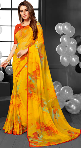 Pink Color Georgette Casual Sarees : Mandrika Collection  YF-43622