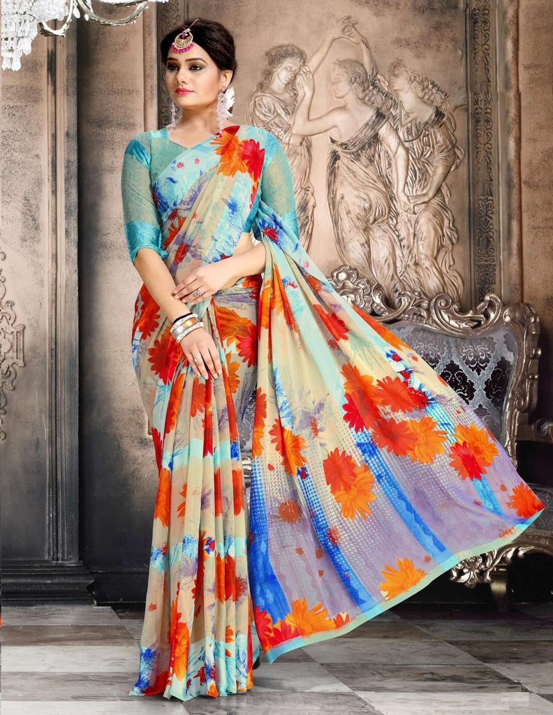 Orange & Blue Color Chiffon Designer Kitty Party Sarees : Minri Collection  NYF-1220 - YellowFashion.in