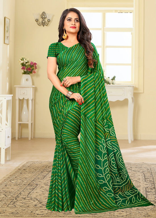 Green Color Chiffon Casual Wear saree -  Noor Collection YF#10240