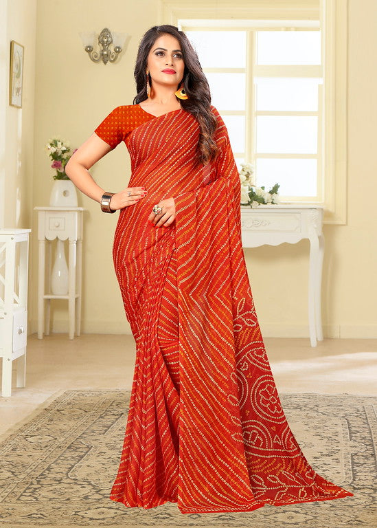 Orange Color Chiffon Casual Wear saree -  Noor Collection YF#10242