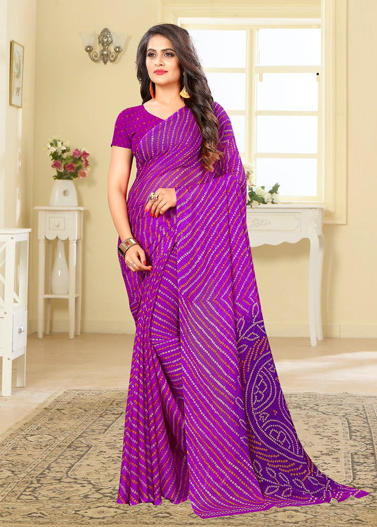 Purple Color Chiffon Casual Wear saree -  Noor Collection YF#10243