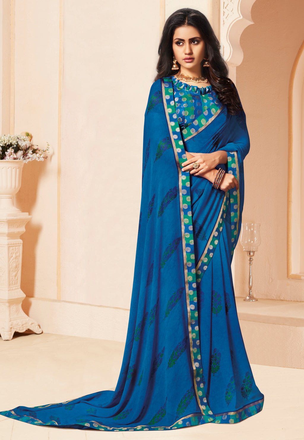 Blue Color Georgette Religious Function Wear Sarees NYF-8629