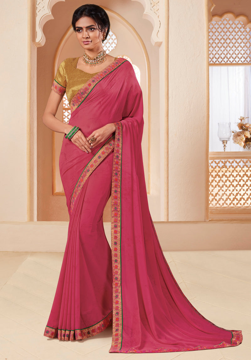 Pink Color Georgette Religious Function Wear Sarees NYF-8631