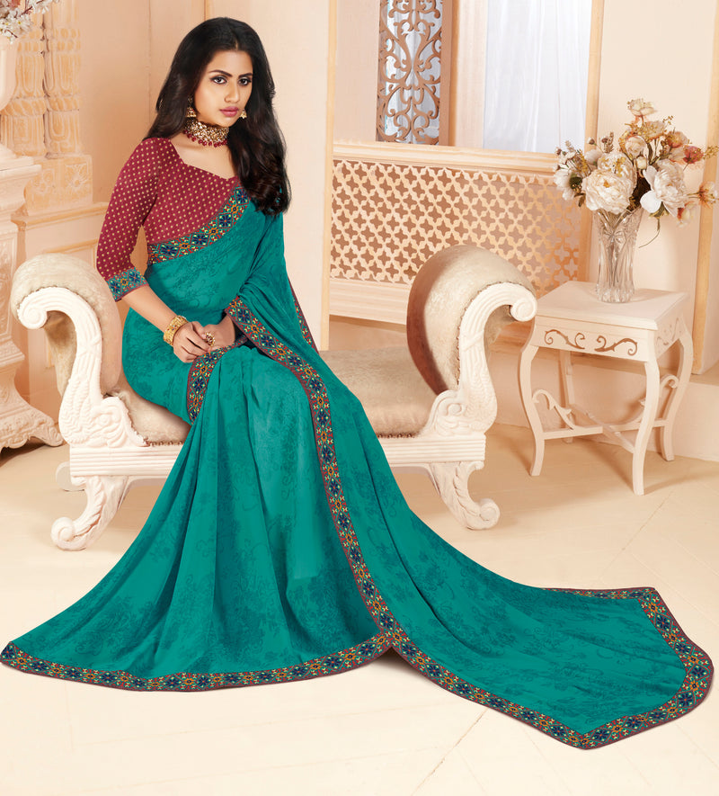 Firozi Color Georgette Religious Function Wear Sarees NYF-8632