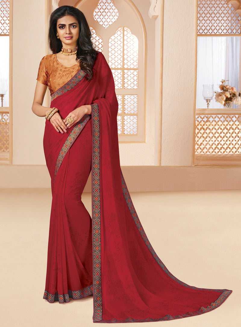 Maroon Color Georgette Religious Function Wear Sarees NYF-8633