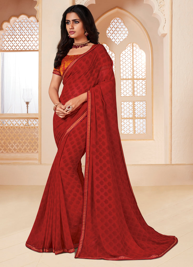 Maroon Color Georgette Religious Function Wear Sarees NYF-8639